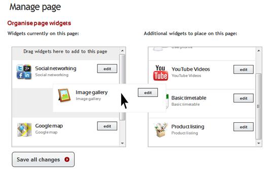 Customise your Mobidoo site with drag n drop widgets