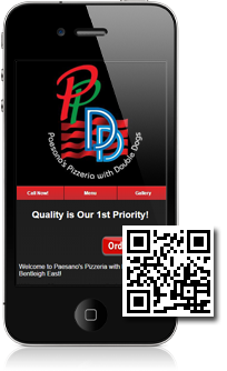 Paesano's Pizzeria's mobile site built with Mobidoo