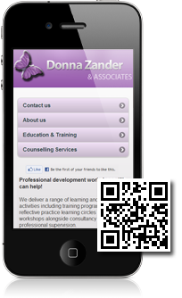 Donna Zander & Associates's mobile site built with Mobidoo