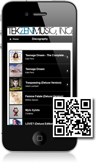 TEKZENMUSIC, INC.'s mobile site built with Mobidoo